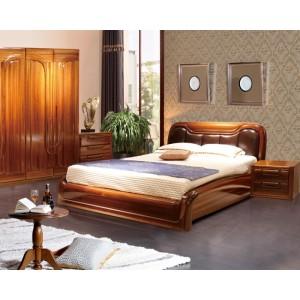 黄金柚木床 实木床头柜 实木衣柜
