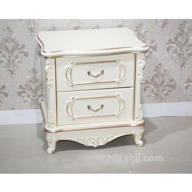 香河欧式床头柜 法式象牙白色珠光烤漆雕花描金储物柜 现代小户型