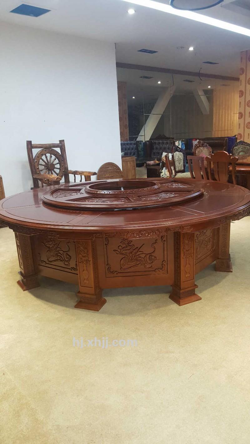 香河汇景厂家直销橡胶木实木雕花餐桌 酒店餐桌