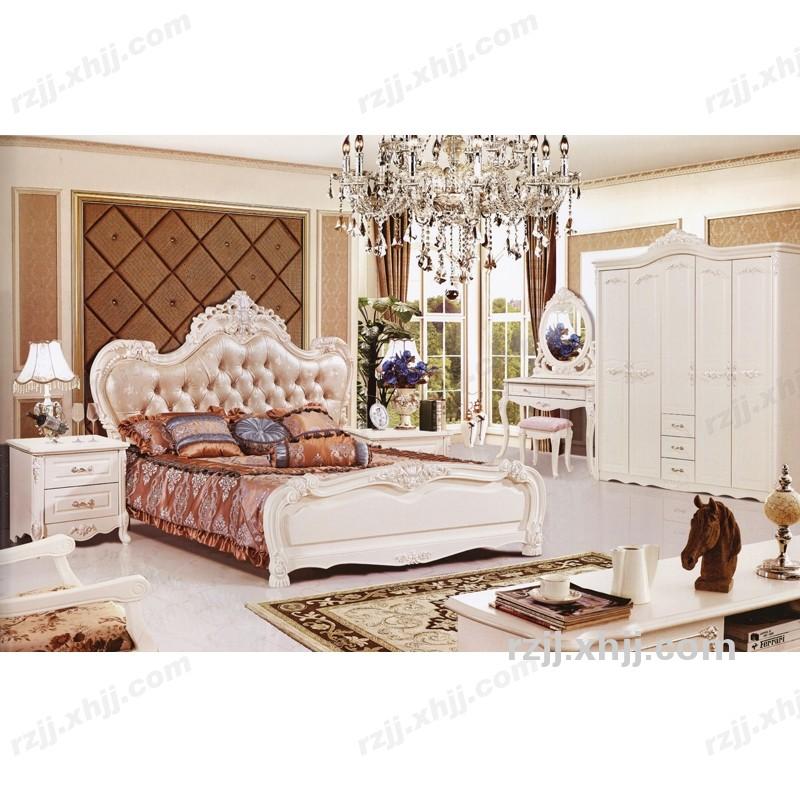 现代欧式套房床头柜 装公主床白色床头柜四门衣柜