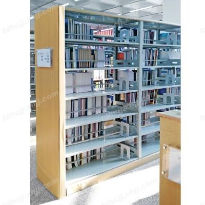 河北双面钢木结合书架13