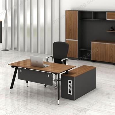 香河川木红简约现代老板桌新款钢木总裁经理主管桌椅大班中班台