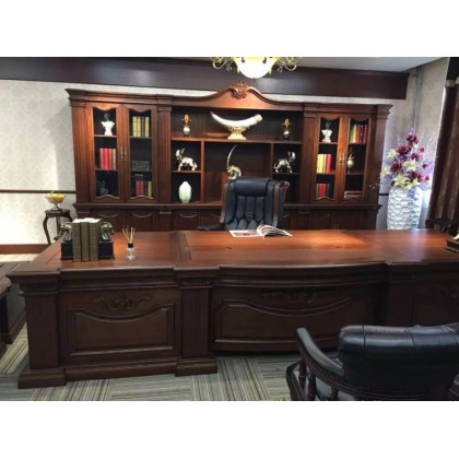 香河国景办公家具实木班台,实木总裁桌椅,实木办公
