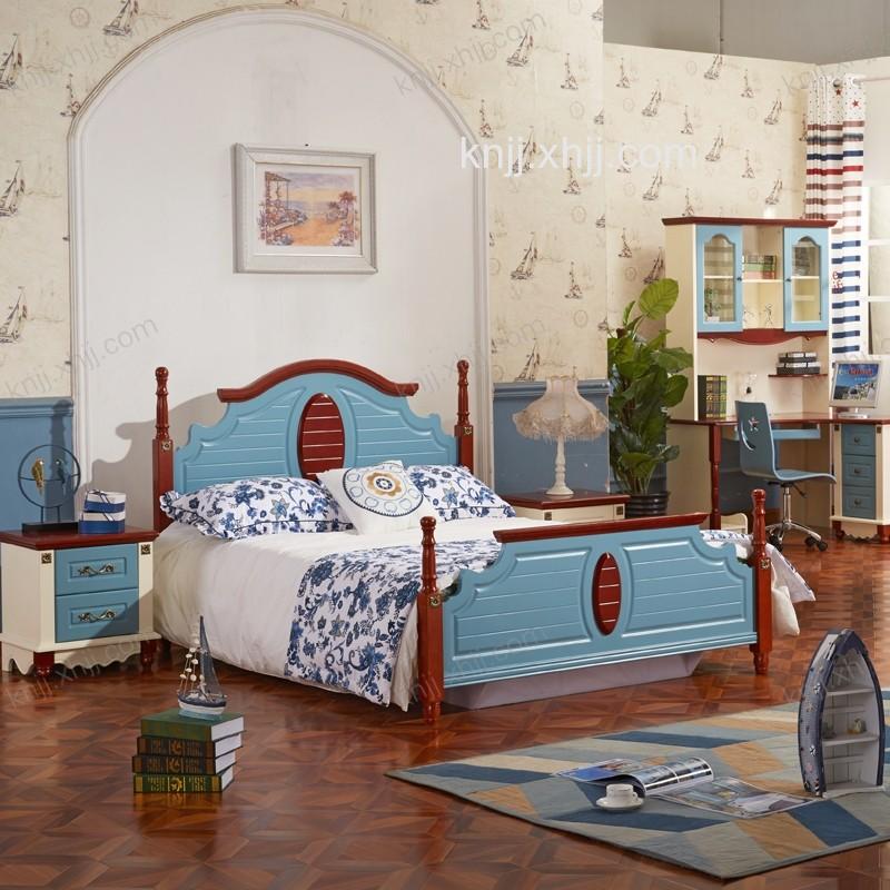 凯能地中海风格板木双人床 卧室家具组合2802