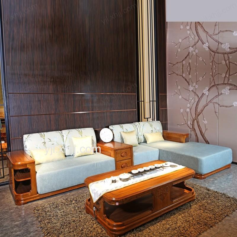 元嘉利客厅双人休闲沙发全实木贵妃转角沙发茶几组合