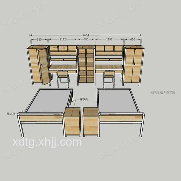 四人间宿舍 公寓床衣柜桌椅组合 srjss-101图片