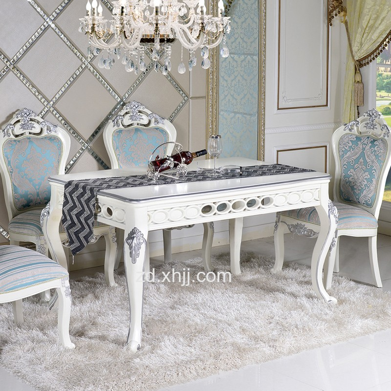 实木雕花餐桌 家用欧式餐桌椅组合